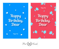 Happy Birthday Dear Tender and Cute Greeting Design Post Card Royalty Free Stock Photography