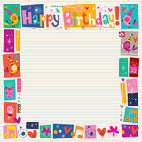 Happy Birthday decorative border. On lined note book paper vector illustration
