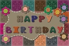Happy birthday dedication. Decor card with flowers Stock Photo