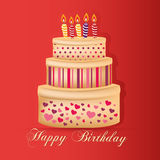 Happy birthday. A delicious big cake with some candles and text for a happy birthday Royalty Free Stock Images