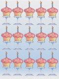 Happy Birthday delicious Cupcake Celebration  seamless background oil painting Stock Photo