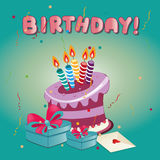 Happy birthday. A delicious purple cake with some presents and text for happy birthday Royalty Free Stock Image