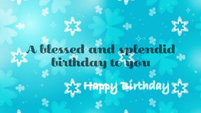 Happy Birthday delightful blue Greeting card. Over a a floral festival background. For festival and celebration birthday parties both web and print use Stock Photography