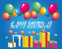 Happy birthday. Design with balloon and gifts Stock Image