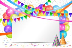 Happy Birthday design. Balloons, flags garlands and white sheet. Happy Birthday design. Border of realistic colorful helium balloons, flags garlands and white Stock Photography