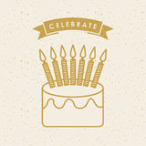 Happy birthday design. Happy birthday card with cake with candles icon over white background. colorful design. vector illustration Royalty Free Stock Image