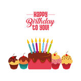 Happy birthday design. Happy birthday card with cupcakes and cake with candles icon over white background. colorful design. vector illustration Royalty Free Stock Photos