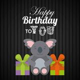 Happy birthday design. Happy birthday card with cute koala and gift boxes over black background. colorful design. vector illustration Stock Photography