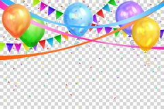 Happy Birthday design. Colorful balloons and flags garlands. Happy Birthday design. Border of realistic colorful helium balloons and flags garlands isolated on Stock Image