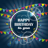 Happy Birthday  design with colorful flags and confetti. Royalty Free Stock Photography