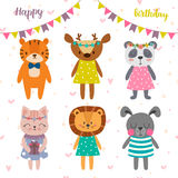 Happy birthday design with cute cartoon animals. Funny greeting card. Postcard Royalty Free Stock Photos