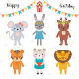 Happy birthday design with cute cartoon animals. Funny greeting card Stock Images