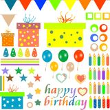 Happy birthday design elements for baby scrapbook Stock Photos