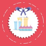 Happy birthday design. With gift boxes and cupcakes with candles icon over white seal stamp and red background,  vector illustration Royalty Free Stock Photos