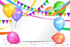 Happy Birthday design. Realistic colorful helium balloons, flags. Garlands and white sheet. Party decoration frame for birthday, anniversary, celebration Stock Photo