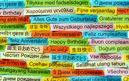 Happy Birthday  on  different languages Royalty Free Stock Image