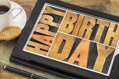 Happy birthday on digital tablet Stock Photos