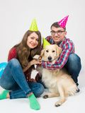 Happy birthday dog with family in birthday hats royalty free stock photos