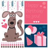 Happy birthday dog vector illustration Stock Photos