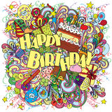 Happy Birthday doodle greeting card on background with celebration elements. Royalty Free Stock Photo