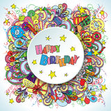 Happy Birthday doodle greeting card on background with celebration elements. Stock Photography