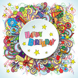 Happy Birthday doodle greeting card on background with celebration elements. Royalty Free Stock Image