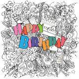 Happy Birthday doodle greeting card on white background with celebration elements. Royalty Free Stock Photo