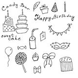 Happy Birthday doodle set. Different hand drawn  elements to illustrate birthday party Royalty Free Stock Photo