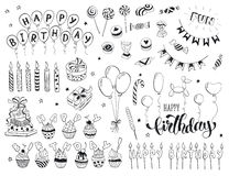 Happy birthday doodles. Happy birthday celebration doodle icons collection isolated on white background. Hand drawn birthday design elements for greeting cards Royalty Free Stock Photos