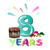 Happy Birthday eight 8 year, fun design with number and cake. Vector illustration Stock Photography