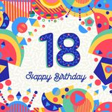 Eighteen 18 year birthday greeting card number. Happy Birthday eighteen 18 year fun design with number, text label and colorful decoration. Ideal for party Stock Photo