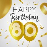 Happy birthday 80 eighty year gold balloon card. Happy Birthday 80 eighty years, luxury design with gold balloon number and golden confetti decoration. Ideal for Royalty Free Stock Photos