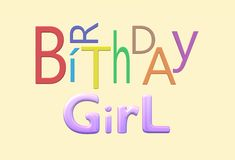 Happy birthday electronic greeting card for a girl or female gender. A computer generated illustration happy birthday electronic greeting card for a female stock illustration