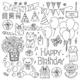 Happy Birthday elements hand drawn set. Vector illustration Royalty Free Stock Photo