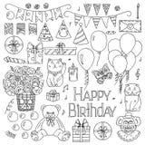 Happy Birthday elements hand drawn set Royalty Free Stock Photo