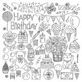 Happy Birthday elements hand drawn set Stock Photos