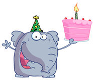 Happy Birthday Elephant In A Party Hat, Holding Up Royalty Free Stock Image