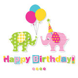 Happy birthday elephants greeting card Stock Photo