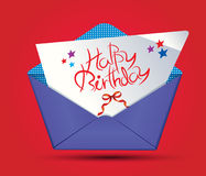 Happy birthday with envelop Royalty Free Stock Photography