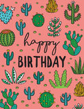 Happy Birthday. Exotic print with hand drawn succulents and cactuses Stock Image
