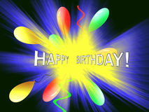 Happy Birthday Explosion. Abstract Happy Birthday with balloons and streamers Royalty Free Stock Image