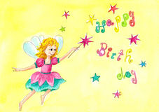 Happy Birthday fairy. Watercolor painting Royalty Free Stock Photography