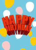 Happy birthday. Festive balloons. Poster for holiday. Greeting c. Ards for birthday Royalty Free Stock Image
