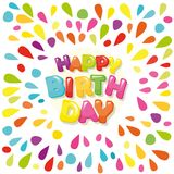 Happy birthday festive banner. Cartoon letters and colorful paint splashes. Vector Royalty Free Stock Photos