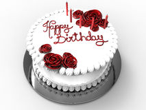 Happy birthday festive cake. 3D render illustration of a happy birthday festive cake. The object is  on a white background with shadows Royalty Free Stock Images