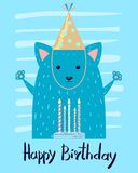 Happy Birthday Festive Congratulation Postcard. With happy animal in colorful cap. Vector illustration with fox and cake with illuminating candles Royalty Free Stock Photos