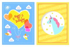 Happy Birthday Festive Posters Vector Illustration. Of celebration cards with colorful hearts, birds and clouds, sun and unicorn with lot of stars Royalty Free Stock Image