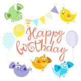 Happy Birthday.Festive  set.  design elements for. Happy Birthday. Bright  illustration with multi-colored cartoon birds, wish and holiday symbols. Can be used Royalty Free Stock Photos
