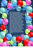 Happy Birthday Festive Template. With greeting text in rectangular frame and colorful balloons vector illustration Royalty Free Stock Images