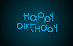 Happy Birthday festive text. Dark background with light blue let. Ters banner design. Vector birthday greeting card illustration Stock Photo